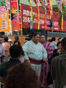 Rekishi (Sumo Wrestler) outside May Grand Sumo Basho (Tournament)