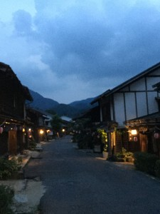 The Nakasendo Trail Tsumagojuku at nightfall