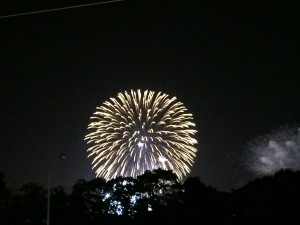 view of Japanese fireworks festival from our local bar.