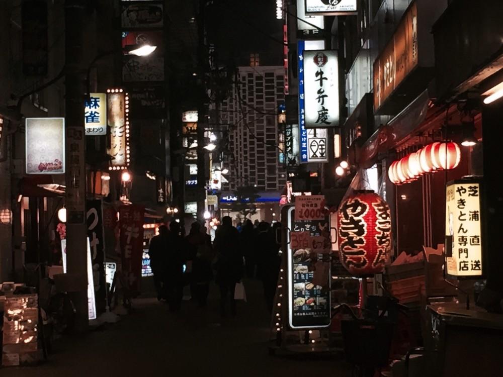 eating out in shimbashi, japan with salarymen at night