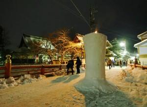 a snowy Santera Mairi Matsuri in Hida Takayama