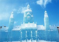 Sapporo Snow Festival in Japan - Hannover city hall building ice sculpture