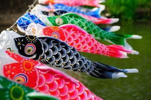 Flying Carp (Koinobori) herald Children's Day during Golden Week in Japan