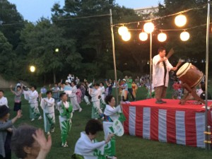 Bon Odori Festival Dance and Drummer atop (a not so high) Yagura during Obon
